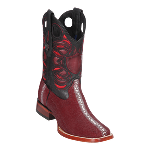 Men's Wild Ranch Toe Boot Genuine Stingray Rowstone - Burgundy - H82
