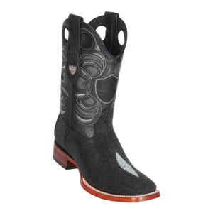 Men's Wild Ranch Toe Boot Genuine Stingray Single Stone - Black - H82
