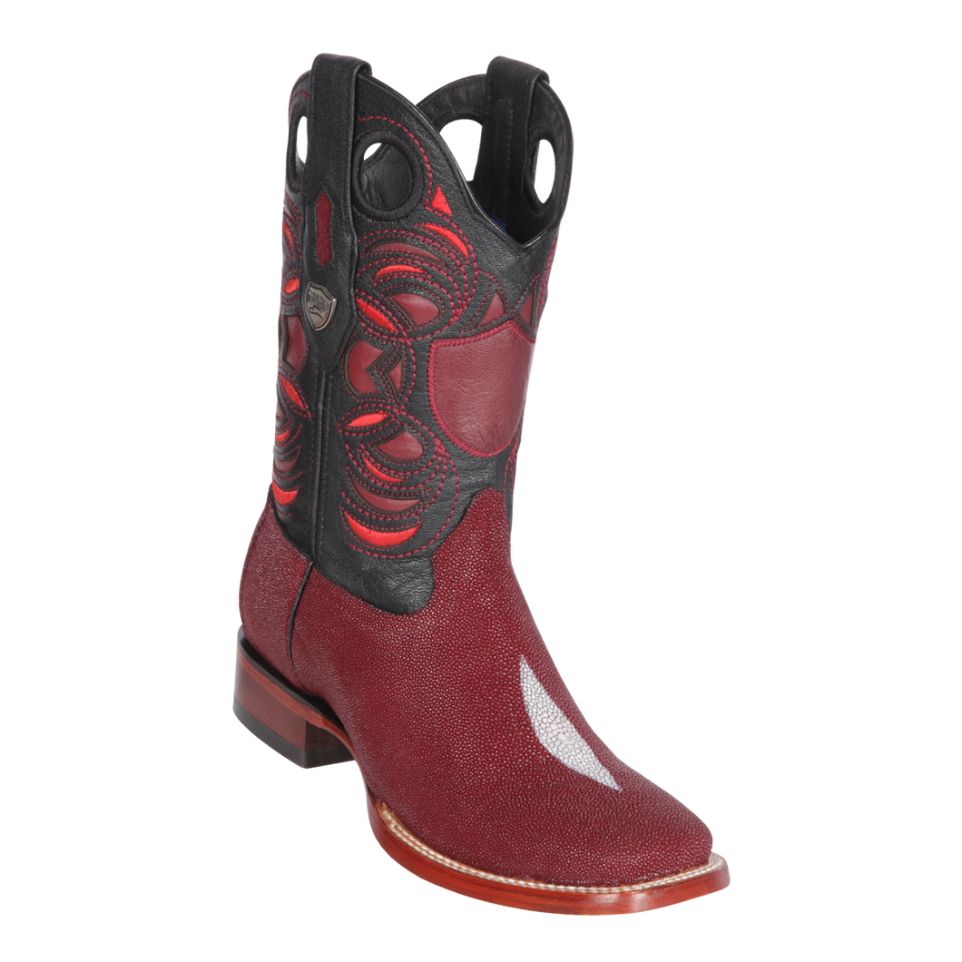 Men's Wild Ranch Toe Boot Genuine Stingray Single Stone - Burgundy - H82