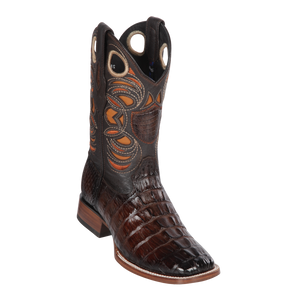 Men's Wild Ranch Toe Boot Genuine Caiman Tail - Faded Brown  - H82