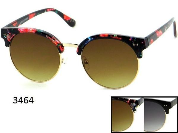 12 Pairs assorted Sunglasses - Wholesale Womens Hipster Floral Frame Circular Lens Sunglasses 3464