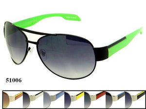 12 Pairs assorted Sunglasses - Wholesale Mens One Piece Metal Frame Sunglasses 51006