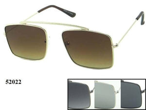 12 Pairs assorted Sunglasses - Wholesale Unisex Hipster Squared Lens Metal Aviator Sunglasses 52022
