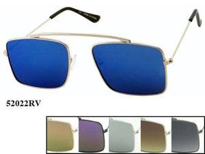 12 Pairs assorted Sunglasses - Wholesale Unisex Hipster Revo Squared Lens Metal Aviator Sunglasses 52022Rv