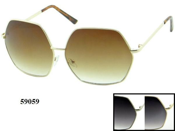 12 Pairs assorted Sunglasses - Wholesale Womens Metal Oversized Lens Sunglasses 59059