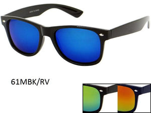 12 Pairs assorted Sunglasses - Wholesale Unisex Trendy Revo Lens All Black Wayfarer Sunglasses 61Mbk/Rv