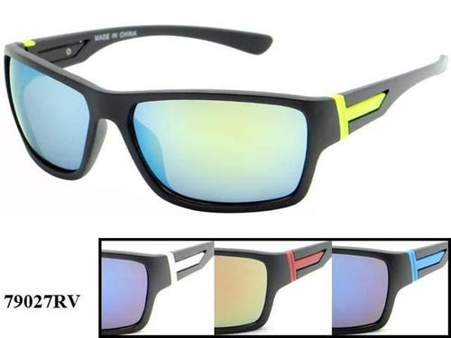 12 Pairs assorted Sunglasses - Wholesale Mens Revo Lens Plastic Two Toned Sport Wrap Sunglasses 79027Rv