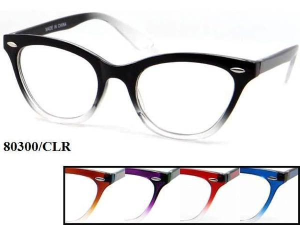 12 Pairs assorted Sunglasses - Wholesale Womens Fashionable Cat Eye Gradient Frame Clear Lens Sunglasses 80300/Clr