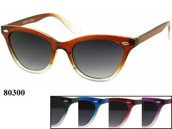 12 Pairs assorted Sunglasses - Wholesale Womens Stylish Two Toned Wayfarer Sunglasses 80300