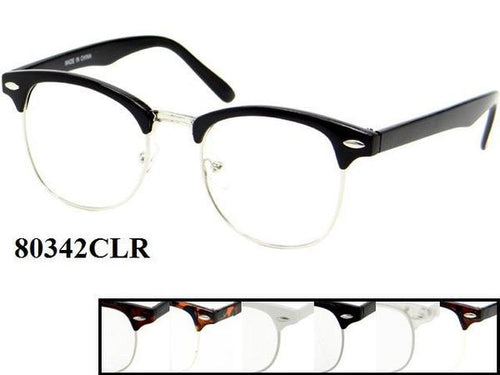 12 Pairs assorted Sunglasses - Wholesale Unisex Classic Retro Frame With Clear Lens 80342/Clr