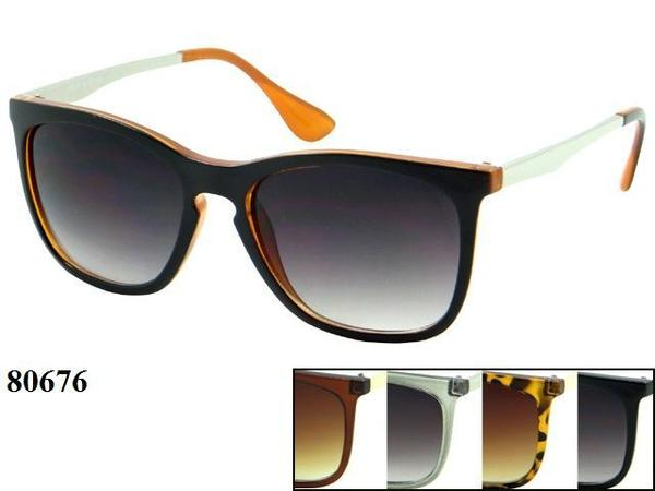 12 Pairs assorted Sunglasses - Wholesale Unisex Unique Metal/Plastic Frame Wayfarer Sunglasses 80676