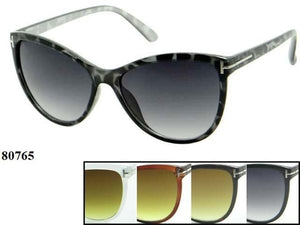 12 Pairs assorted Sunglasses - Wholesale Womens Plastic Fashionable Cat Eye Frame Sunglasses 80765