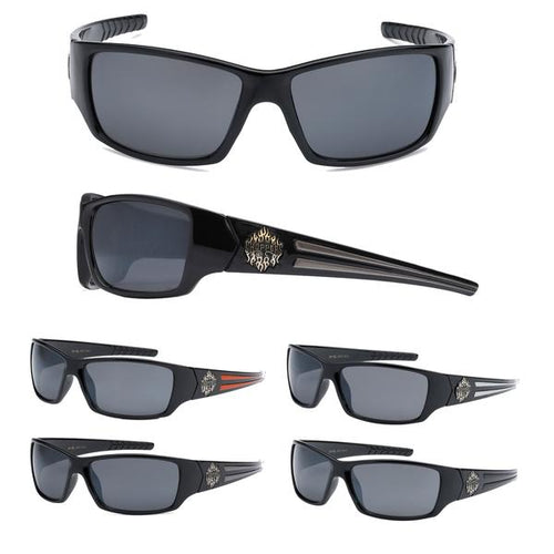 12 Pairs assorted Sunglasses - Wholesale Men's Biker Chopper Plastic Sunglasses