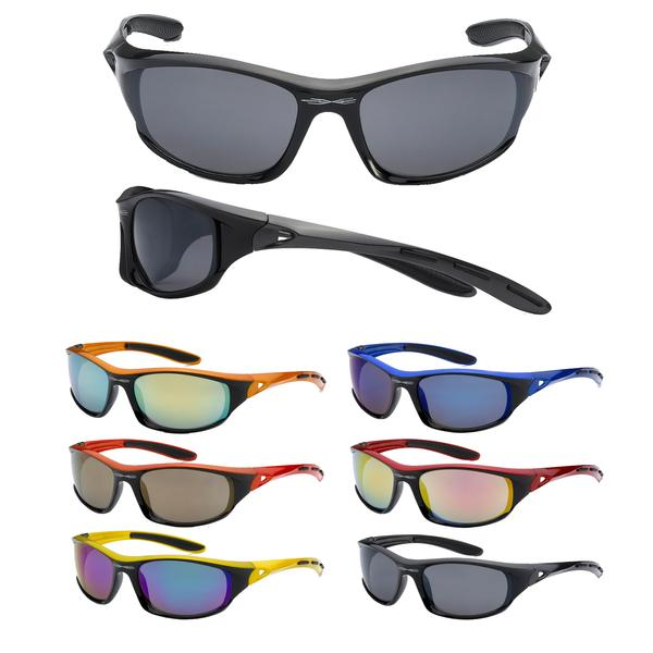 12 Pairs assorted Sunglasses - Wholesale Mens Revo Lens Plastic Wrap Sports Sunglasses 8X2176