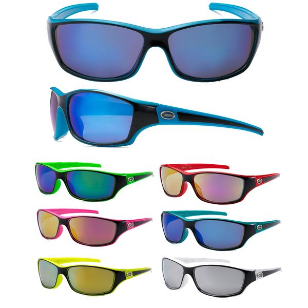12 Pairs assorted Sunglasses - Wholesale Unisex Two Toned Frame Revo Lens Sunglasses 8X2364
