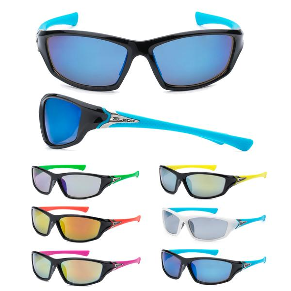 12 Pairs assorted Sunglasses - Wholesale Mens Wrap Sport Revo Lens Two Toned Frame Sunglasses 8X2420