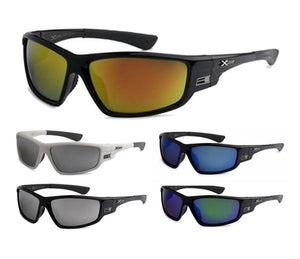 12 Pairs assorted Sunglasses - Wholesale Men's Xloop Wrap Revo Lens Sunglasses 8X2473