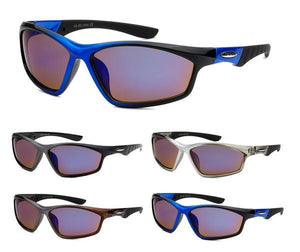 12 Pairs assorted Sunglasses - Wholesale Mens Two Toned Frame Sports Wrap Sunglasses Ab32