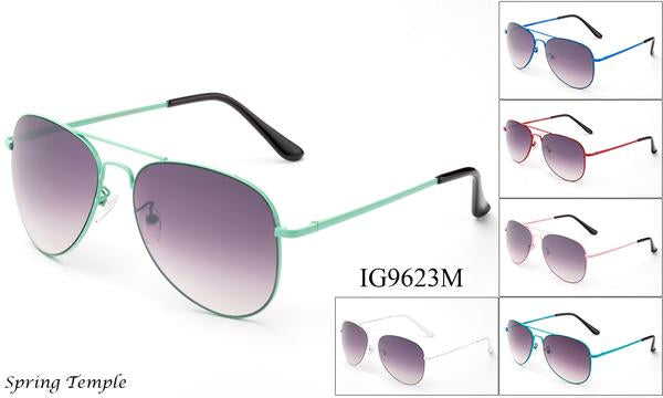 12 Pairs assorted Sunglasses - Wholesale Unisex Colored Metal Frame Aviator Sunglasses Ig9623M