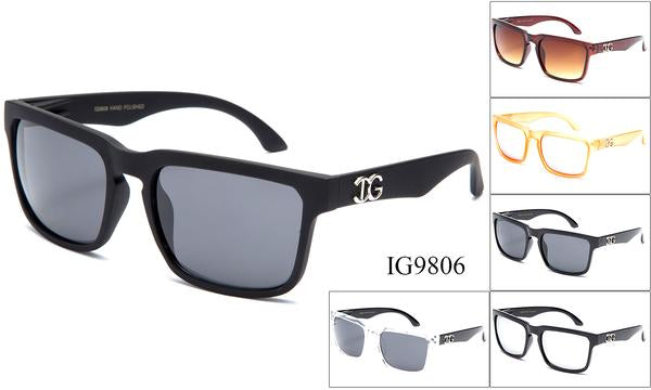 12 Pairs assorted Sunglasses - Wholesale Unisex Trendy Plastic Wayfarer Sunglasses Ig9806