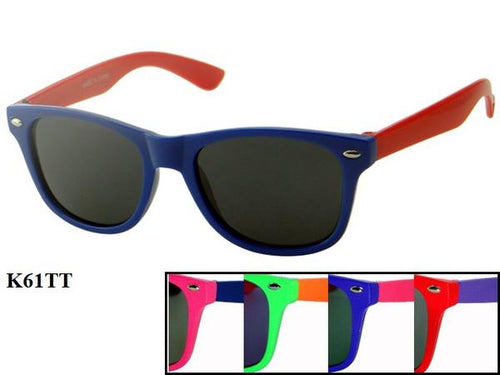12 Pairs assorted Sunglasses - Wholesale Kids Multi Color Wayfarer Sunglasses K611T