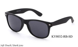 12 Pairs assorted Sunglasses - Wholesale Unisex Soft Touch Dark Lens Wayfarer Sunglasses Ky8032-Rb-Sd