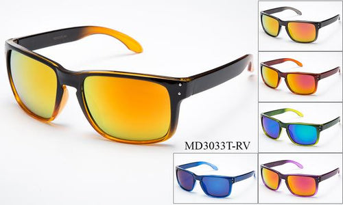 12 Pairs assorted Sunglasses - Wholesale Mens Two Toned Armbands Wayfarer Sunglasses Md3033T-Rv