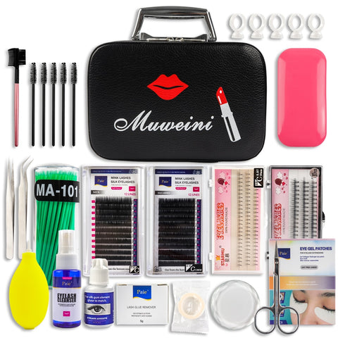 Professional Eyelash Extension Kit Individual Mink Eyelashes Set with Case No Stimulating Glue Easy Grafting Eyelash Tool Salon