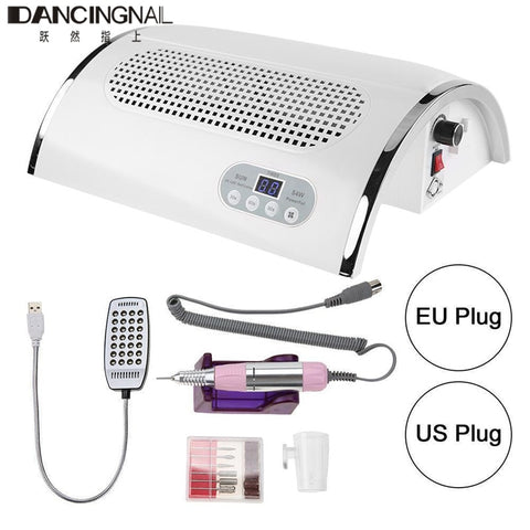 3 In 1 Strong Power 54W Nail Fan Art Salon Suction Dust Collector Vacuum Cleaner Nail Dust Collector + UV LED Nail Dryer Lamp - ZURBEXPRESS
