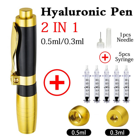 New 2 IN 1 Hyaluronic Pen 0.3ml &0.5ml hyaluronique Acid Pen For Filler dermal lip fillerlip Anti Wrinkle face lifting injection