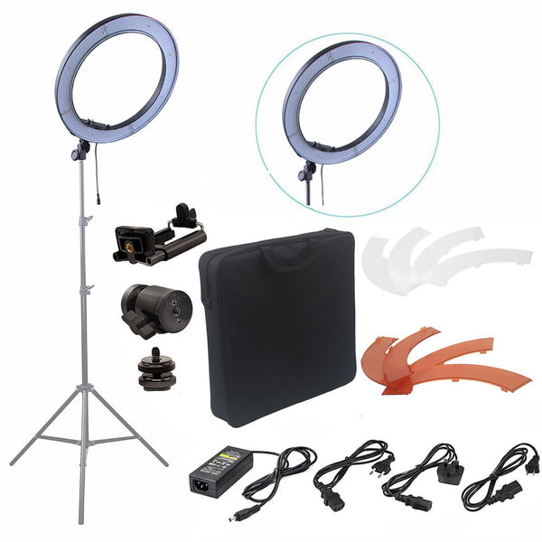 Fusitu 18'' 240pcs LED 5500K Dimmable Photography Video LED Photo Ring Light Kit for DSLR Camera - ZURBEXPRESS