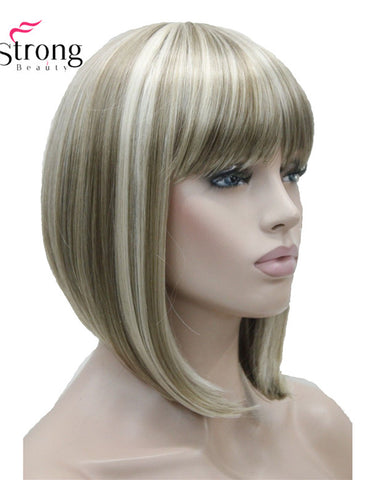 Short Straight Blonde Highlighted Bob with Bangs Synthetic Wig Women's Wigs - ZURBEXPRESS