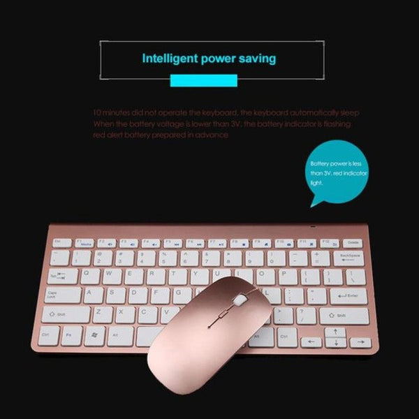 2017 PC Accessories Wireless Gaming Keyboard and  Gaming Mouse Ultra-thin mini keyboard suit 2.4 G wireless keyboard - ZURBEXPRESS