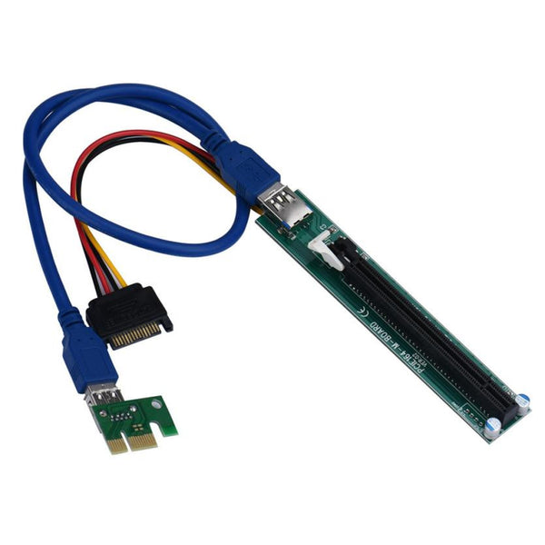 PCI-E Express 1X To 16X Extender Riser Card Adapter Power 60CM USB Cable Stable anti-burn#30 - ZURBEXPRESS
