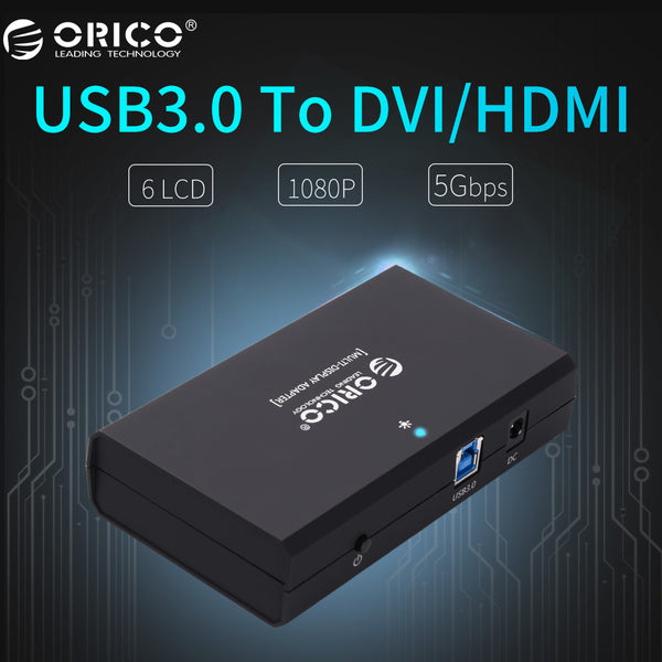 ORICO USB3.0 to DVI/HDMI External Monitor Converter Connector Controller 5Gbps Support 6 Screen -Black(DHU3A-BK) - ZURBEXPRESS