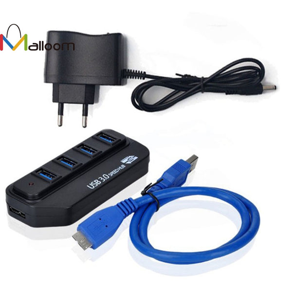 New High Speed USB 3.0 HUB 4 Port Adapter LED Indicator With Power Adapter For PC EU - ZURBEXPRESS