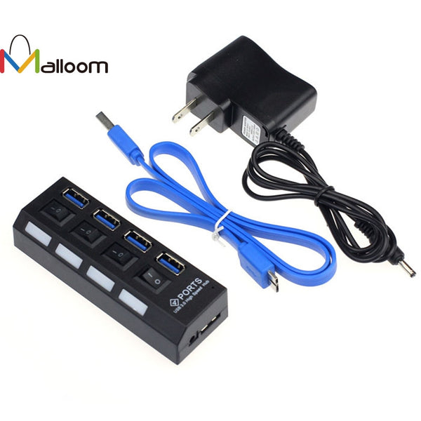 New 4 Ports USB 3.0 HUB With On/Off Switch Power Adapter For Desktop Laptop Computer - ZURBEXPRESS