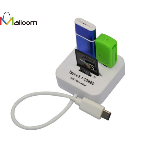 2016 High Quality hot selling USB 3.1 Type C USB-C Multiple 2 Port HUB TF SD Card Reader Adapter - ZURBEXPRESS