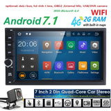 "Hizpo Quad Core 7"" 2 Din Android 7.1 Car NO-DVD Radio Multimedia Player 1024*600 Universal GPS Navigation autoradio Stereo Audio - ZURBEXPRESS"