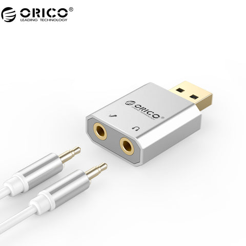 ORICO External USB Sound Card Stereo Mic Speaker Headset Audio Jack 3.5mm Mini Cable Adapter Free Drive For PC Laptop - ZURBEXPRESS