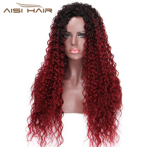 I's a wig 30 Inches Long Synthetic Ombre Afro Curly Wigs for Black Women  African Hairstyle - ZURBEXPRESS