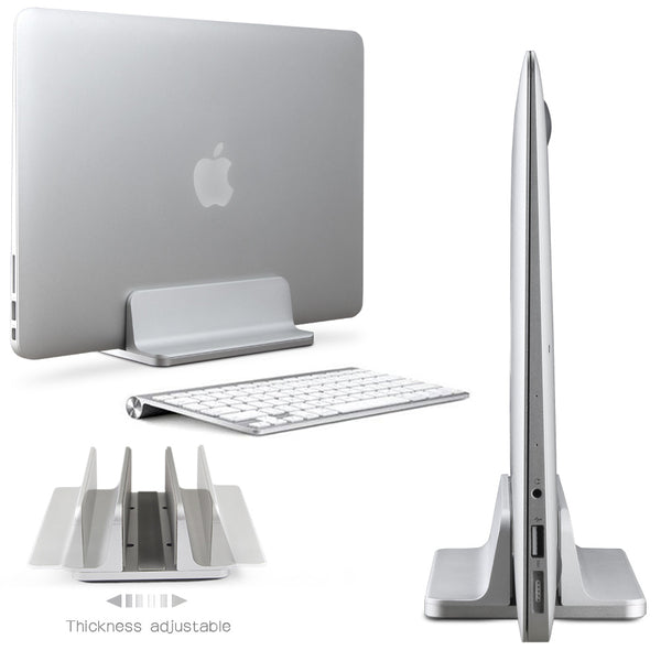 Aluminum Vertical Laptop Stand Thickness Adjustable Desktop NoteBooks - ZURBEXPRESS