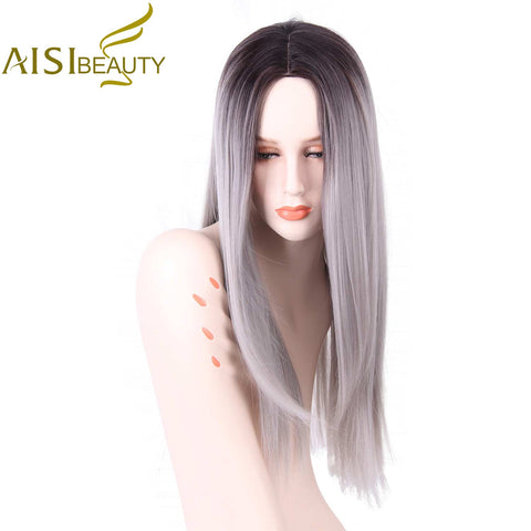 AISI BEAUTY Grey Red Pink Ombre Black Wig Synthetic Wigs for Women Long Straight False Hair - ZURBEXPRESS
