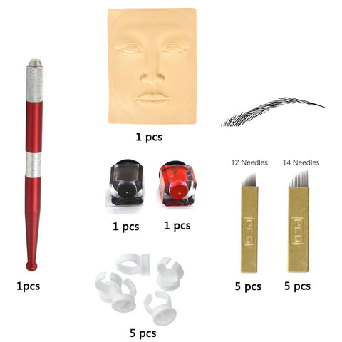Microblading Accesories Permanent Makeup Eyebrow Tattoo Kit Needle Pen Ink Practice Skin 10pcs needle blade For Learner use - ZURBEXPRESS