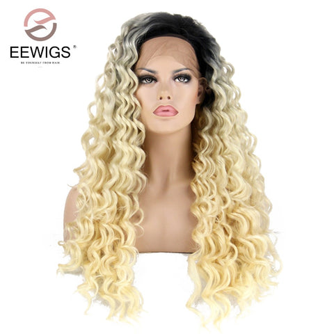 Synthetic Lace Front Wig Long Curly Black Root Ombre Blonde Two Tones Color Hair Wigs Heat Resistant For Women - ZURBEXPRESS