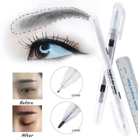 1Pcs Surgical Skin Marker Eyebrow Marker Pen Tattoo Skin Marker Pen With Measuring Ruler Microblading Positioning Tool #244859 - ZURBEXPRESS