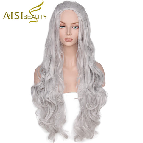 AISI BEAUTY  Synthetic Wig Wavy Long Grey Cosplay Wigs Hair Game of Thrones Daenerys Targaryen for Women With High Resistant - ZURBEXPRESS