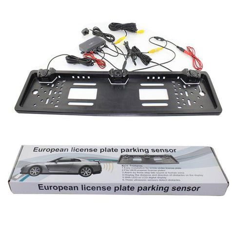 Auto Rearview System European License Plate Video Parking Sensor Reversing Radar with HD Rear View Backup Camera No Drill Holes - ZURBEXPRESS