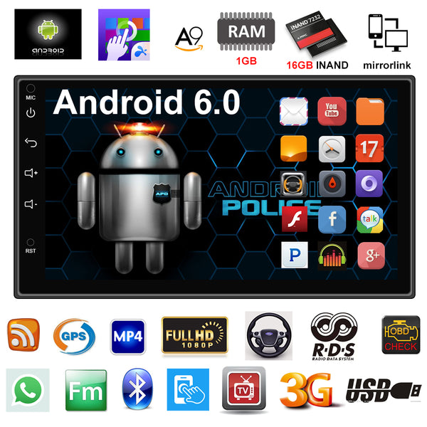 2 Din Car Radio GPS Navigation Android 6.0 Car Audio Player Touch Screen Quad Core Car radio USB Bluetooth Player Autoradio - ZURBEXPRESS