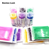 100PCS/Lot Disposable Eyelash Brushes Swab Microbrushes Eyelash Extension Tools Individual Eyelashes Removing Tools Applicators - ZURBEXPRESS